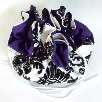 Wedding Bag Satin Bridal Money Purse Black and White Damask with Purple No Pockets