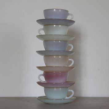 Beautiful French Set of Six Espresso Cups and Saucers Opalescent Pastel Arcopal Glass