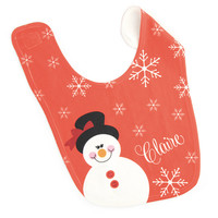 Red Snowman Baby Bib - Personalized
