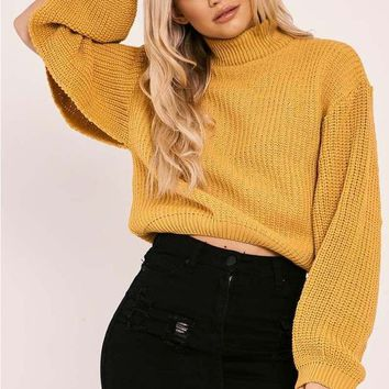 NYRISSA MUSTARD HIGH NECK SPLIT SLEEVE KNITTED JUMPER