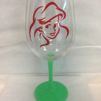 Little Mermaid facial portrait Glittered glass
