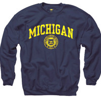 The M Den - New Agenda University of Michigan Navy Seal Crewneck Sweatsh