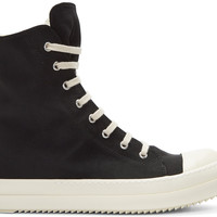 Black Nylon High-Top Sneakers