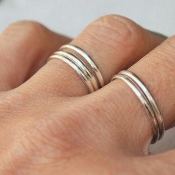 Silver Stacking Ring  - Sterling Silver - Thumb Ring - Midi Ring - Half Round Band -Thin Stack Ring - Metalwork - Custom Made