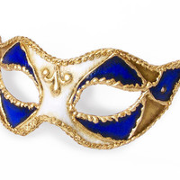 Royal Blue, White And Gold Masquerade Mask In Antique Look -  Classical Venetian Mask With Metallic Gold Embellishment
