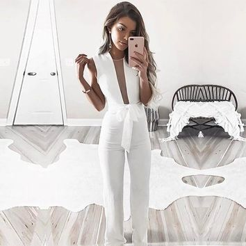 Winter Women's Fashion Sleeveless V-neck Jumpsuit [24784142351]