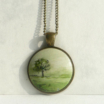 Hand Painted Tree Necklace, Landscape Tree, Fog Landscape Charm, Necklace Bezel Pendant, Monochrome, Nature Painting Tiny Painting, Artdora