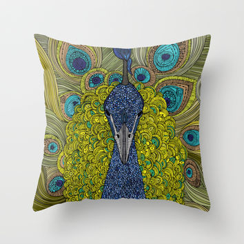 Mr. Pavo Real Throw Pillow by Valentina Harper