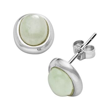 Sterling Silver Jade Stud Earrings (Green)
