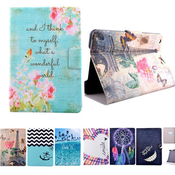 High Quality 2016 Flower Pattern Flip pu Leather Smart Stand Shell Cover Case for Apple Ipad mini 1 Mini 2 mini3 Tablet case