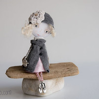 Etsy Transaction -        Art Doll Brooch Grey and Pink mixed media collage