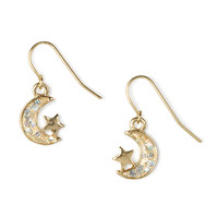 Glitter Moon and Star Drop Earrings