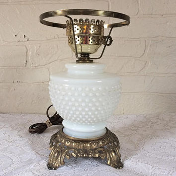 Vintage White Milk Glass Table Lamp Hobnail Milk Glass Shabby Chic Lamp Cottage Chic Shabby Chic Lamp Cottage Chic Decor