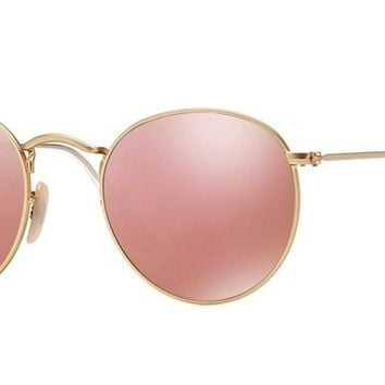 Ray Ban RB3447 Round Metal 112/Z2 Matte Gold Sunglasses 50mm