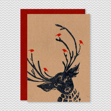 Cool Christmas Card - Reindeer with birds - Dark Blue Red- Kraft xmas cards lino print funky cute xmas greetings card