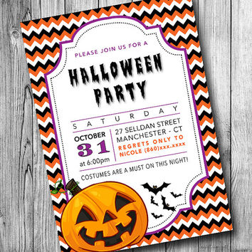 Halloween Party Invitations, Halloween Invites, Adult and Kids Invite, Pumpkin Bat, Black Orange Chevron (Printable, DIY, Digital File)