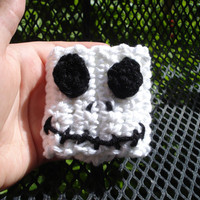 Jack Skellington inspired crochet cuff bracelet - white - black - nightmare - christmas - fall - winter - toddler - kids- adults - halloween