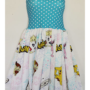 New POKEMON Baby Doll DRESS Handmade Bow 90s Nintendo STARS Card Game