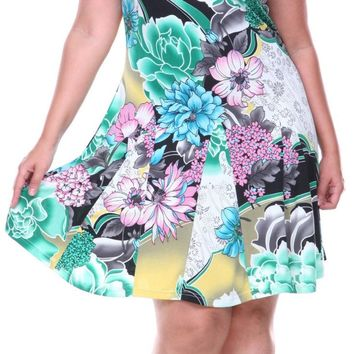 Plus Size Large Floral Print Dress Green Sundress Fit/Flare