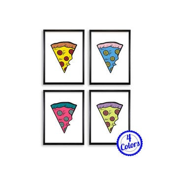 Digital Poster Print JPG Files - Pizza Slice 4 Colors - 18x24 / 11x17 / 8.5x11 / 8x10 / 5x7 / 4x6