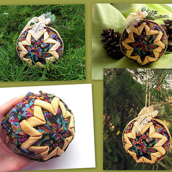 TUTORIAL - Quilted ball PDF file, Christmas Ornament Tutorial, Ball Pattern, Handmade Lesson, NO Sewing, Instant Download