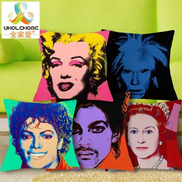 New Andy Warhol Fashion Star Cushion Cover Chair Sofa Pillow Case Creative Handsome Seat MovieStar Cushion Pillow Cover 1PCS