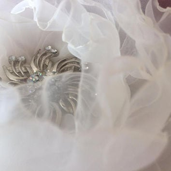 Pearl white wedding flower rose winter nylon classy handcrafted ethereal delicate rhinestones crystals bridal brooch corsage sash