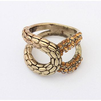 R134 Vintage Big Rings For Women Punk Fashion Jewelry Finger Ring Crystal Snake Design
