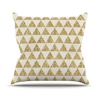 "Nika Martinez ""Glitter Triangles in Gold"" Tan Yellow Throw Pillow"