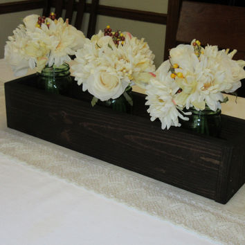 Dark Walnut Stained Wood Planter Box • Mason Jar Centerpiece, Long wood box, Candle Holder, Wedding Centerpiece • 21 inches long