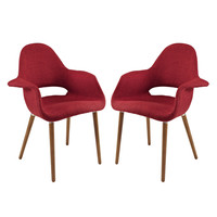 Taupe Dining Armchair Set of 2 in Red