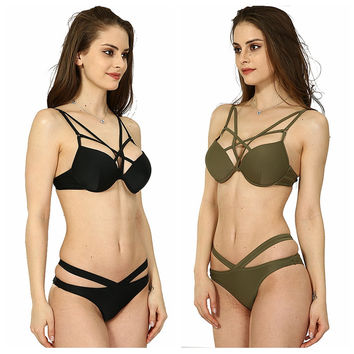 Pure color harness sexy banded lady bikini swimsuit
