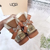 UGG Pearl and Butterfly Drilling Snow Boots-2