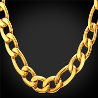 Men Chains Necklaces 12mm  stainless Steel/18K Real Gold Plated