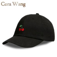 ONETOW Baseball Cap Soft cotton Unisex Cherry  Embroidered fruits hat