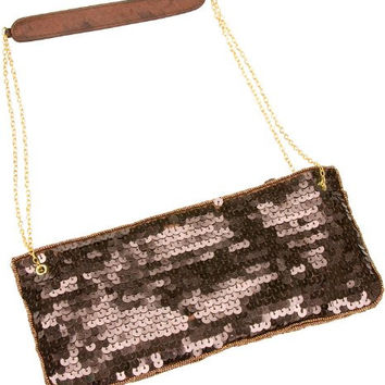La Regale Sequins Designer Clutch handbag Purse- Color:: Bronze