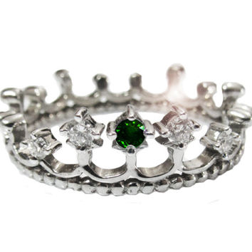 Emerald Ring, Diamond Ring,  Crown ring, Claddagh Jewelry,Prom jewelry,Princess ring, 14K gold 18K gold Crown ring, crown jewelry