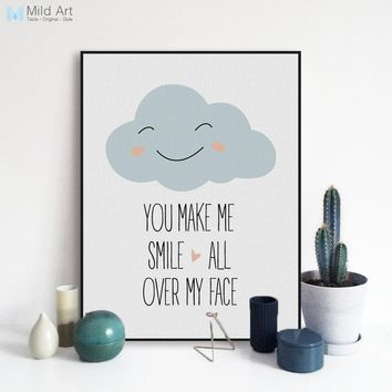 Modern Motivational Love Quotes A4 Art Print Poster Smile Wall Picture Nordic Cute Baby Kids Room Decor Canvas Painting No Frame
