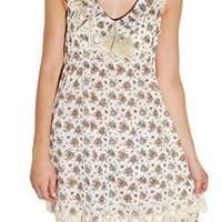 Calico Lace Country Floral Dress (Coffee Ivory)