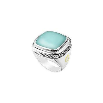 Aqua Chalcedony Rope Ring : 14K White Gold - 10.00 CT TGW