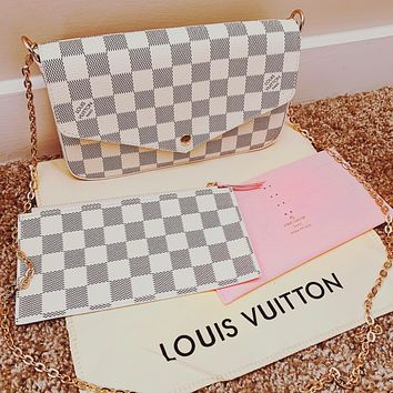 LV Women Shopping Bag Leather Handbag Tote Shoulder Bag Satchel Three-Piece White Tartan