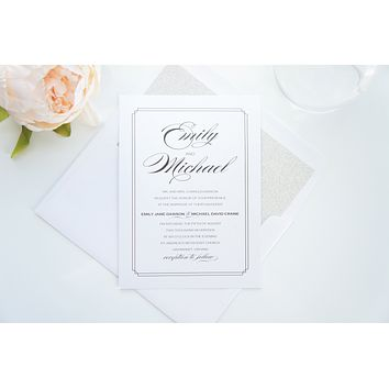 Silver Glitter Wedding Invitation - DEPOSIT