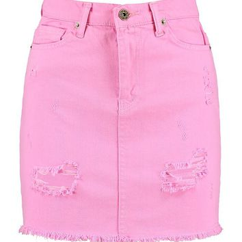 Coloured Denim Mini Skirt | Boohoo