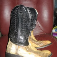 Classic Vintage Durango 2  one  Leather Vamp & Fox  Western Cowboy Boots Made in USA Good Vintage  mens  SZ 8 EE