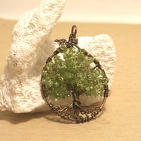 Peridot Tree Of Life Necklace Pendant Brown Chain Brown Wire Wrapped Tree Gemstone