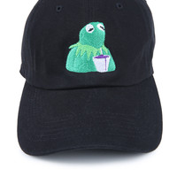 The Still Sippin Lean Dad Hat in Black