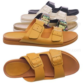 Mission72 Flexible Molded Footbed Slides - Women Double Buckle Yoga Slippers