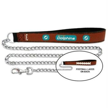 DCCKT9W Miami Dolphins Football Leather and Chain Leash