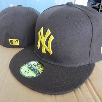 ESBON New York Yankees New Era MLB Authentic Collection 59FIFTY Cap Black_Golden