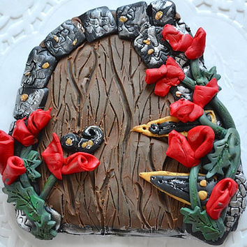 Fairy Door - Fairy Portal - Gnome Door - Polymer Clay Door - Fairy Garden Kit - Fairy Garden Accessory - Fairy Garden Door - Fairy Garden